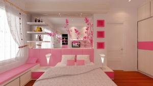 contoh design Ruang Tidur anak perempuan dengan cat pink